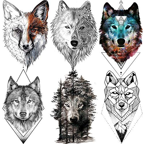6 Sheets Fanrui 3d Large Realistic Geometric Wolf Temporary Tattoos For Men Women Waterproof Tribal Forest Wolf Fox Save Gray Wolf