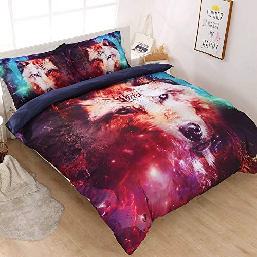 Decmay 3d Galaxy Wolf Bedding Sets For Boys And Girls 3pcs Cool Wolf Print Galaxy Bed Set Durable And Soft Comforter Save Gray Wolf